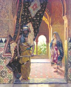 """Rudolf Ernst , """"The Guard of the Harem"""". The eunuchs in the Ottoman Empire came from mainly a Coptic monastery, Abou Gerbe on Mount Ghebel Eter. The Coptic priests castrated Nubian or Abyssinian slave boys around the age of eight. Art Arabe, Jean Leon, Empire Ottoman, Arabian Art, Islamic Paintings, Exotic Art, European Paintings, Arabian Nights, North Africa"""