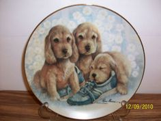 Danbury Mint Puppy Pals Series Time Out Collectible Plate 1989 Ruane Manning