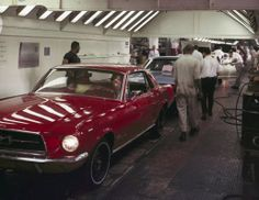 The assembly line at the Ford Motor Co. plant is seen as Mustangs are built in Dearborn, Mich., Nov. 7, 1966. (AP)