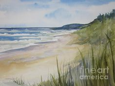 Riley Beach Lake Michigan By Sandra Strohschein Transparent Watercolor