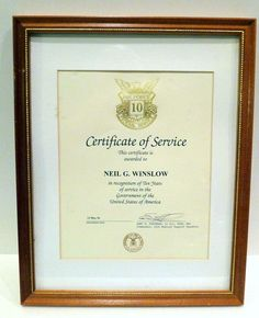#USAF 10 Years Federal Service Framed Cert of Service #1996 Government of the USA