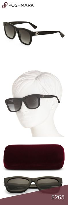 7f65840adb Black GUCCI Cat Eye Sunglasses Authentic Black Gucci GG Logo Square Cat Eye  Sunglasses. Brand