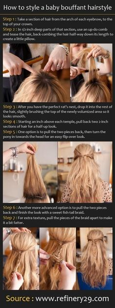 cool Cute Diy Hairstyles for School: Bouffant Hairstyle - PoPular Haircuts...