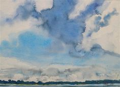 """Daily Paintworks - """"Matted Blue Skies #2"""" - Original Fine Art for Sale - © Lynne Schulte"""