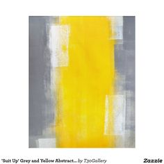 'Suit Up' Grey and Yellow Abstract Art