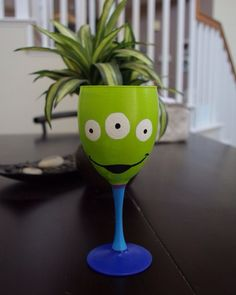 Toy Story Alien inspired hand painted wine glass