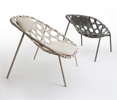 Benjamin Huberts: Wrapped and woven leather lounge chair with magnetic cushions
