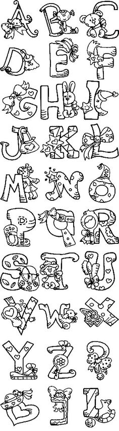 Free Embroidery Designs, Sweet Embroidery, Designs Index Page alphabet Embroidery Applique, Cross Stitch Embroidery, Machine Embroidery Designs, Embroidery Patterns, Embroidery Tattoo, Embroidery Alphabet, Embroidery Supplies, Embroidery Thread, Coloring Books