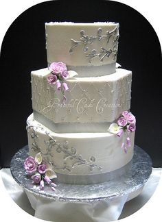 Indian Weddings Inspirations. Silver wedding cake. Repinned by #indianweddingsmag indianweddingsmag.com
