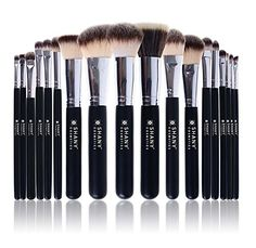 SHANY Triple Pro 18 Piece Brush Set Synthetic and Natural Hair with Apron Black >>> More info could be found at the image url.