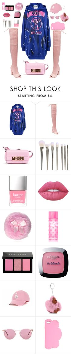 """Overknees👢"" by chiara-kawaiiunicorn ❤ liked on Polyvore featuring Moschino, Steve Madden, Lime Crime, Victoria's Secret PINK, Bobbi Brown Cosmetics, L'Oréal Paris, '47 Brand, Kipling, Oliver Peoples and STELLA McCARTNEY"