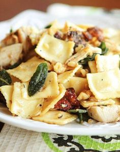 Brown Butter Ravioli with Rotisserie Chicken, Toasted Walnuts and Crispy Sage