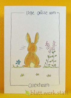 Ostern - Glückwunschkarte Ostern individuell handgemalt - ein Designerstück von blattwerkstatt bei DaWanda