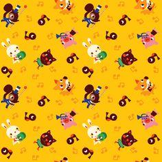 retroanimals_yellow fabric by bora on Spoonflower - custom fabric