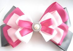 Pink Hair Bow w/ Gem by EmazingThreads on Etsy, $11.99