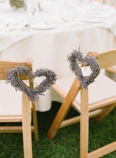 Lavender heart aisle markers for wedding. Photography by michaelandannacosta.com