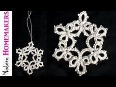 Tatted Snowflake Part 1, free tatting patterns for christmas, needle tatting patterns