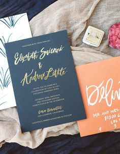 Brush Lettered Gold and Navy Wedding Invitations by Goodheart Designs