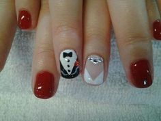 Bride and Groom Wedding Day Nails