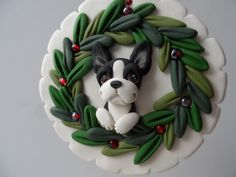 Boston Terrier christmas ornament by hand sculpted polymer clay via Etsy