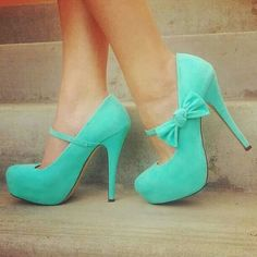 Turquoise heels with bows