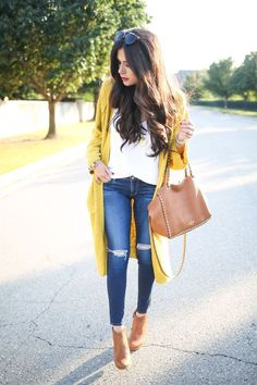 Gold cardigan for fall, cute layering! Women's fall fashion clothing outfit street style