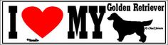 I Love My Golden Retriever Dog Bumper Sticker
