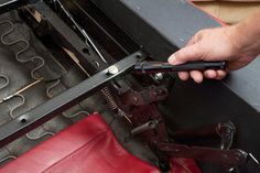 How to Replace a Recliner Spring (with Pictures) Rv Recliners, Couch Repair, Couch Cushions, Home Repairs, Rv Living, Foot Rest, Antique Furniture, Home Remedies, Wood Projects