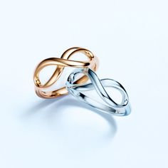 Tiffany Infinity rings, from top: 18k gold and sterling silver. #TiffanyPinterest