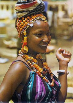 Africa | Fulani woman.  Mali | Scanned postcard image, published by Renaudeau. ca. 1974