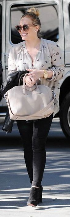 Who made Hillary Duff's tan sunglasses, gold watch, black suede boots, and nude handbag that she wore in Los Angeles on January 19, 2013?