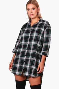 Plus Steph Checked Oversized Shirt Dress