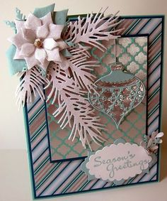 Handmade Card Kit Stampin Up Chrismas Ornament Pine Holly Glossy Poinsettia   eBay