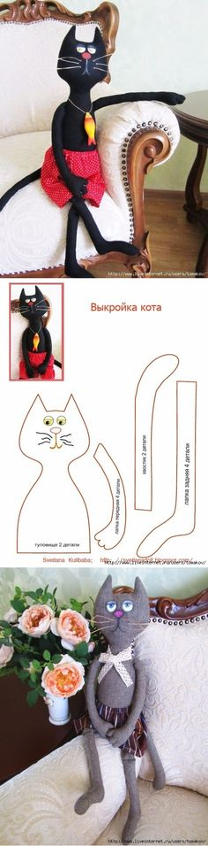 Мягкая игрушка - Welcome to our website, We hope you are satisfied with the content we offer. Cat Crafts, Diy And Crafts, Cat Doll, Cat Pattern, Sewing Toys, Stuffed Animal Patterns, Soft Dolls, Soft Sculpture, Fabric Dolls