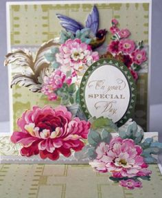 GOOD-LUCK-SPECIAL-DAY-POP-UP-3D-FLORAL-HANDMADE-GREETING-CARD-ANNA-GRIFFIN-STYLE