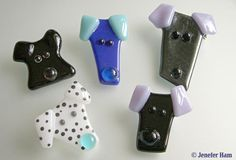 Jenefer Ham Kiln Formed Glass: Puppy and Kitty, Dog and Cat Jewellery, Brooch, Pin, Badge