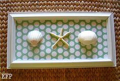 One more DYI seashell wall art idea - master bath - literally perfect colors