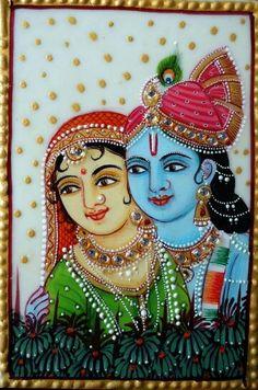 Krishna Statue, Krishna Art, Radhe Krishna, Lord Krishna, Glass Painting Patterns, Glass Painting Designs, Fabric Painting, Tanjore Painting, Krishna Painting