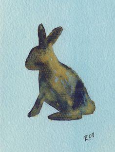 Watercolor bunny print.