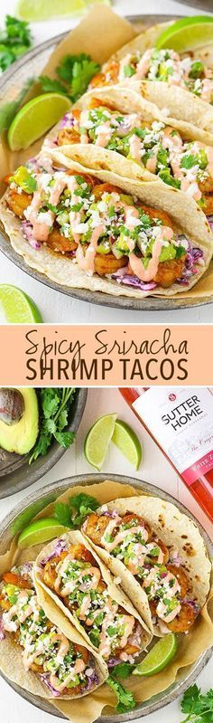 Spice Sriracha Shrimp Tacos - lightly spice shrimp, sriracha sauce, guacamole and slaw! A great spicy taco with sweet Sutter Home White Zinfandel wine! #SweetOnSpice #seafoodrecipes