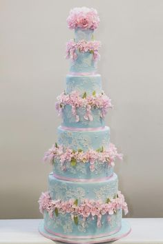 Duck egg blue lace wedding cake with pink sugar flowers - Cake by Elizabeth's Cake Emporium