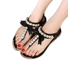 31873dc6e4ff Donalworld Women Summer Beach Shoes T Strap Bow Pearl Flip Flops Wedges  Platform Black Sandals Asia