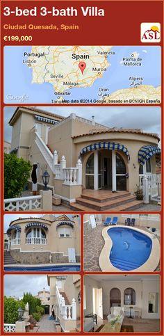 3-bed 3-bath Villa in Ciudad Quesada, Spain ►€199,000 #PropertyForSaleInSpain