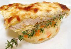 Füstölt sajtos csirkemell krumplipürén Paella, Quiche, Mashed Potatoes, Bacon, Sandwiches, Chicken, Cooking, Breakfast, Ethnic Recipes