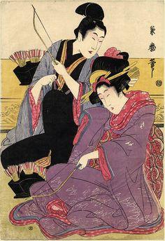 Kikumaro Late Size/Format: Oban 10 by inches Description: A young man and his lover practice indoor archery. Geisha, Samurai, Pop Art Images, Painting Prints, Art Prints, Art Japonais, Japanese Painting, True Art, Japanese Prints