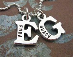 custom sterling silver initial necklace by juliethefish on Etsy