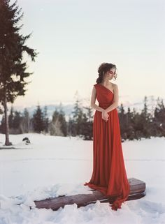 Luscious handmade dress, gorgeous styling, and winter landscape bring up youthful memories of the winter I spent in the Czech Republic.