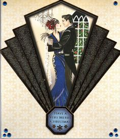 Art Deco Christmas Ladies and Couples Cards - Handmade - Cocktails, Xmas Tree