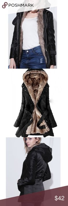 Black Winter Coat with Faux Fur Lining Faux Fur Lined Winter Coat.                                               Lining is removable.                                                        Zip, snap and belt closure.                                         Water Resistant.                                                           Please see photos for sizing and additional details ❌trades Jackets & Coats Puffers