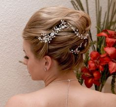 Bridal Hair Vine made with Rhinestones and Silver by OWDJewelry